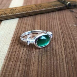 925 sterling green Tigers Eye Ring